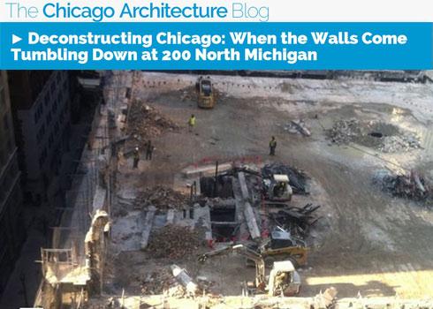 Demolition Continues at Future Site of bKL designed 200 North Michigan Avenue Tower
